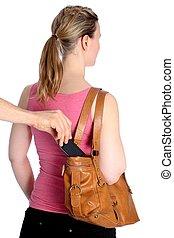 rörlig telefonera, pickpocketing, handväska, ute