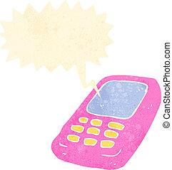 rörlig telefonera, retro, tecknad film