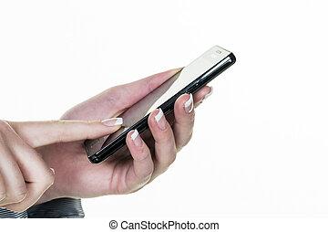 rörlig telefonera, skriftligt, sms