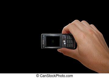 rörlig telefonera, svart, hand