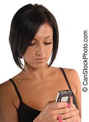 rörlig telefonera, texting, attraktiv, kvinnlig