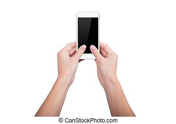 rörlig telefonera, vit, kvinna räcka