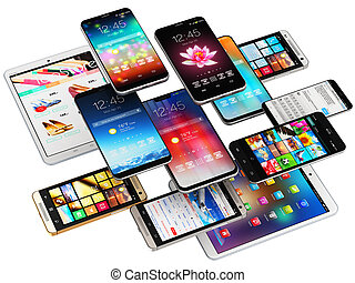 rörlig telefonerar, datorer, kompress, smartphones