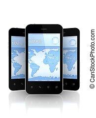 rörlig telefonerar, navigatör, screen., gps