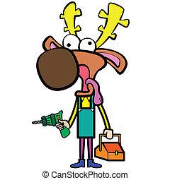rörmokare, elektrisk, hjort, drill, toolbox, tecknad film