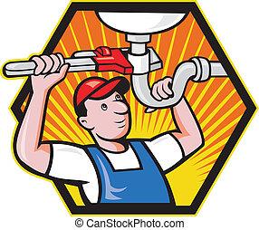 rörmokare, inställbar, arbetare, skiftnyckel