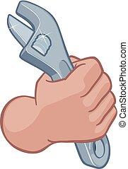 rörmokare, mekaniker, näve, hand, skiftnyckel, holdingen, skruvnyckel