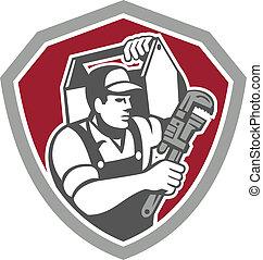 rörmokare, skydda, skiftnyckel, bära, toolbox, retro