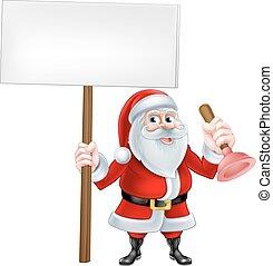 rörmokare, tecknad film, jultomten
