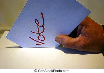 rösta, block, skott