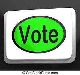 rösta, knapp, visar, alternativ, omröstning, eller, val