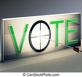 rösta, måltavla, visar, alternativ, eller, val