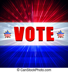 rösta, med, lysande, amerikan flagga, och, stjärnor