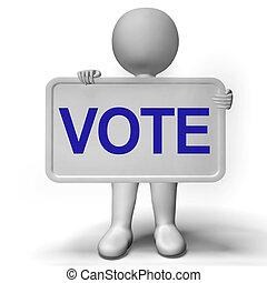rösta, underteckna, visar, alternativ, omröstning, eller, val