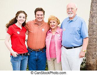 röstar, familj, tillsammans