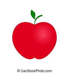 rött äpple, färg, ikon, med, grön, kvist, och, blad