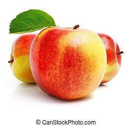 rött äpple, frukt, med, grönt lämnar