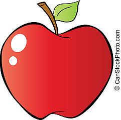 rött äpple, in, lutning