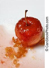 rött äpple, in, ro, saft