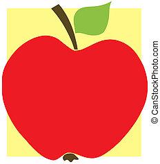 rött äpple, med, gul fond
