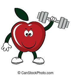 rött äpple, med, hantel, .