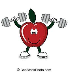 rött äpple, med, hantlar, .