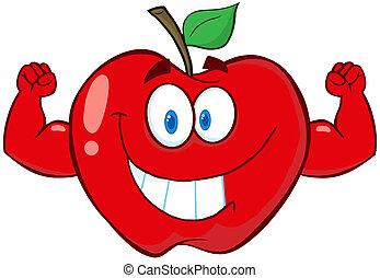 rött äpple, med, muskel, vapen
