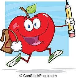 rött äpple, med, skola väska