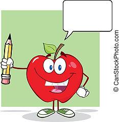 rött äpple, med, tal porla
