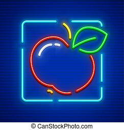rött äpple, mogen, frukt, med, grön leaf