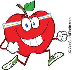 rött äpple, tecknad film, tecken, joggning
