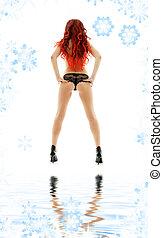 rött hår, pinuppa, flicka, vita, sand