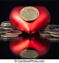 rött hjärta, och, dig. s.  dollar, mynter