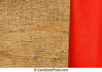 rött tyg, över, trä struktur, närbild, bakgrund