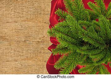 rött tyg, med, gran träd, filial, över, trä struktur, närbild