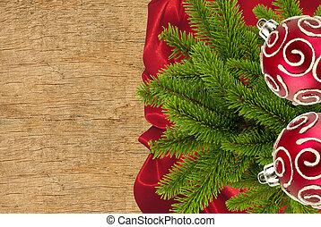 rött tyg, med, gran träd, filial, och, jul, toys, över, trä struktur, närbild