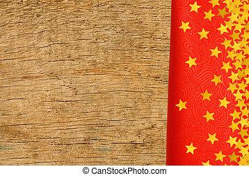 rött tyg, med, gyllene, stjärnor, över, trä struktur, närbild, bakgrund