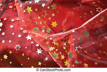 rött tyg, med, gyllene, stjärnor