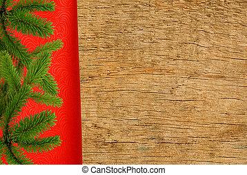 rött tyg, med, julgran, filial, över, trä struktur, närbild