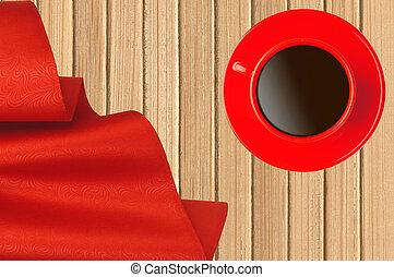 rött tyg, och, kaffe kopp, över, trä struktur, närbild
