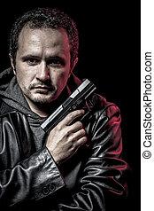 röveri, tjuv, beväpnat, man, med, svart leather klå upp, farlig