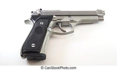 rövid, 11mm, pisztoly, háttér., fehér, ezüst