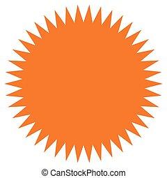 rövid napsütés, alakzat., címke, lakás, ikon, ár, starburst, fellobbant