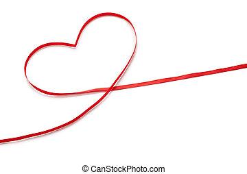 rød bånd, ind, hjerte form
