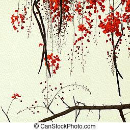 rød, blomstre, træ, på, handmade avis
