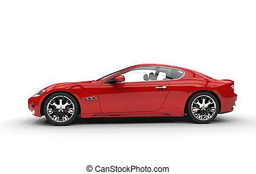 rød, faste, automobilen, side udsigt