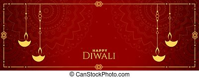rød, festival, banner, diya, indisk, diwali, dekoration