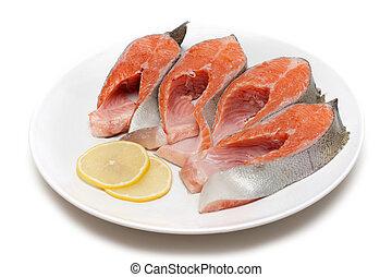 rød fisk, smule, hos, citron, på, beklæde