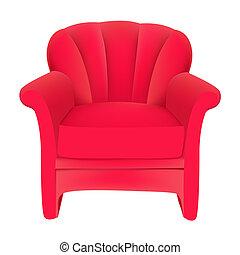 rød, fløjl, let stol, på hvide, baggrund