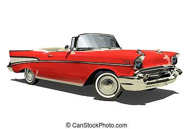 rød, gamle, automobilen, hos, en, åbn, top., convertible., isoleret, på, en, hvid, baggrund., render., 3d.
